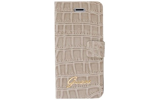 Aperçu 2: GUFLHP4CRB Etui luxe Guess rabat latéral crocodile beige glossy pour IPhone 4 4