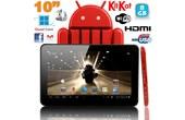 Achat Tablette tactile 10 pouces Android 4.4 KitKat Quad Core 8 Go Rouge